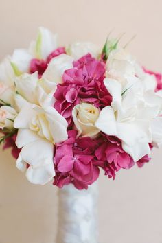 Pretty Pink  White Bouquet | We Heart Photography |  See the wedding on http://www.StyleMePretty.com/2013/01/03/soquel-california-vineyard-wedding-from-we-heart-photography/
