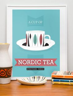 Tea cup art print poster in retro style picturing great RORSTRAND TANGO cup with pattern by Marianne Westman 420 mm x 297 mm ? inch**First & original prints featuring Stig Lindberg, Cathrineholm, Rorstrand and other famous scandi. Kitchen Prints, Kitchen Wall Art, Tea Cup Art, Tea Cups, Kunst Poster, Scandinavian Art, Scandinavian Christmas, Modern Art Deco, Scandi Style