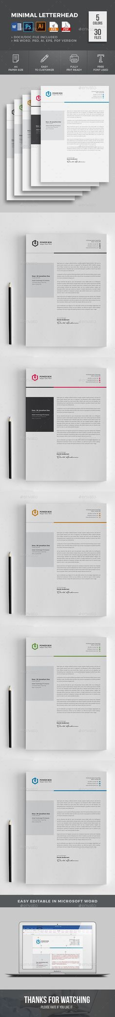 #Awesome Letterhead I Clean, Minimal with super modern and Corporate look | 5 color variations I Available in- MS Word, PSD & Ai Format I Download: https://graphicriver.net/item/letterhead/19255143?ref=jpixel55