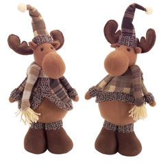 Pack of 6 Brown Moose Wearing Gray Plaid Snowman Christmas Decorations, Christmas Moose, Nordic Christmas, Felt Christmas Ornaments, Christmas Figurines, Christmas Central, Christmas Angels, Christmas Tabletop, Christmas Crafts