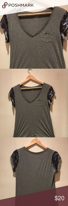 NWOT LOFT grey v neck w sequenced sleeves Super cute size small LOFT Tops Tees - Short Sleeve