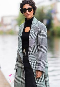 Yasmin Sewell, Luxury Fashion, Street Style, London, Short Hair, Check Coat