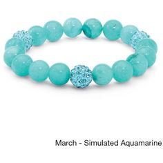 Palm Beach Jewelry PalmBeach Agate and Crystal Accent Bead Birthstone... ($21) ❤ liked on Polyvore featuring jewelry, bracelets, blue, beading jewelry, bead jewellery, palm jewelry, beaded jewelry and blue star jewelry