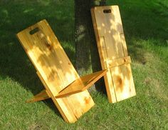 Fold-able Camp Chair   6 -out of one piece of plywood --- they're suprizingly comfy, too.
