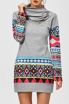 Tribal Print Long Sleeve Sheath Dress In Light Gray Look Fashion, Fashion Outfits, Womens Fashion, Fashion Clothes, Fashion Site, Bon Look, Ethno Style, Tribal Dress, Moda Casual