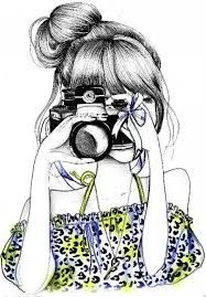 girl taking picture drawing - Google Search
