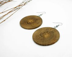Disk Wood Earring From Local Greek Wood, Dangle & Drop Earrings Wood Earrings, Circle Earrings, Chandelier Earrings, Handmade Chandelier, Gifts For Nature Lovers, Circle Shape, Wooden Jewelry, Earrings Handmade, Unique Gifts