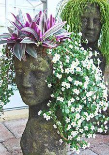 Woman Head Planter | CiNdEeS' GaRdEn: Wordless Wednesday...Garden Head Planters