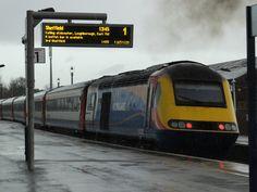 East midlands trains class 43 hst 43082 at market harborough Locomotive Engine, Electric Locomotive, Diesel Locomotive, Uk Rail, British Rail, Speed Training, Rolling Stock, Train Journey, Trains