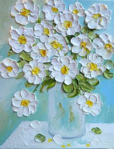 Daisy Oil Painting Impasto Painting Daisy by KenziesCottage