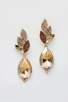 Emma Stine Limited: Crystal Grace Earrings in Gold Shadow IMPERFECT $34