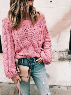 Chunky slouchy baggy oversized one shoulder pink sweater. Pinterest: pearlxoxoxo