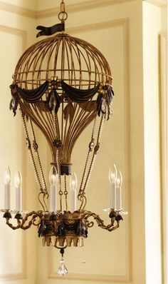 Love this air balloon steampunk chandelier. Think it would look great in a kid's room. Alas, it's $4,500.