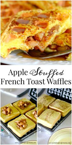 A delicious apple stuffed breakfast that is so easy but decadent. These apple stuffed french toast waffles can also be frozen for later! Apple Stuffed French Toast Waffles are an easy recipe you can m (Apple Recipes For Kids) What's For Breakfast, Breakfast Dishes, Breakfast Recipes, Breakfast Casserole, Yummy Breakfast Ideas, East Dessert Recipes, Breakfast Waffles, Mexican Breakfast, Breakfast Sandwiches