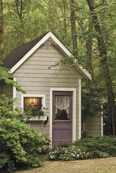 Garden cottage...Adorable! Love the shingled front and the gingerbread in the peak ~