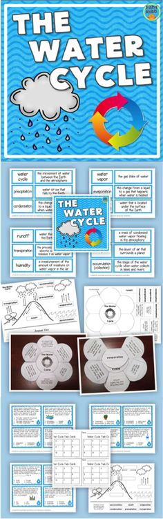Water Cycle pack - includes vocabulary cards, task cards, cut & paste diagram, and foldable