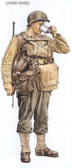 US infantry Lieutenant in full landing kit Military Photos, Military Gear, Military Equipment, Military History, Diorama Militar, Ww2 Uniforms, Military Uniforms, American Uniform, Military Figures