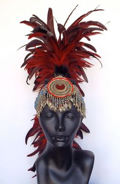 Red Feather Mohawk with Tribal Jewelry by MissGDesignsShop on Etsy, $315.00