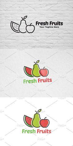 Logo Design Template, Logo Templates, Dried Fruit, Fresh Fruit, Juice Logo, Fruit Logo, Fruit Shop, Logo Color, Logo Nasa