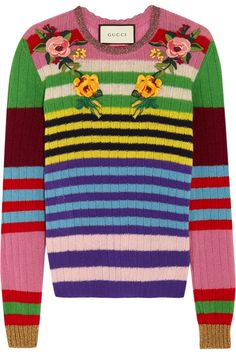Gucci | Appliquéd striped wool and cashmere-blend sweater | NET-A-PORTER.COM