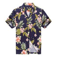 Hawaii Hangover Made in Hawaii Men's Hawaiian Shirt Aloha Shirt Cluster Floral Leaf in Navy and Pink Hawaiian Pattern, Hawaiian Print, Tropical Pattern, Mens Hawaiian Shirts, Hawaii Shirts, New T Shirt Design, Hawaii Style, Bowling Shirts, Aloha Shirt