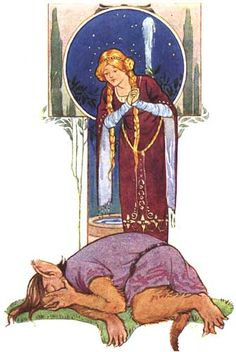 """Illustration for Beauty and The Beast by Margaret Tarrant, taken from the book 'Favourite Fairy Tales'. """"She found poor Beast to all appearance dead."""" A scene from Beauty and the Beast showing Beauty peering down on the beast who looks as if he were dead. Beauty And The Beast Art, Indie Art, Fairytale Art, Children's Book Illustration, Faeries, Illustrators, Fantasy Art, Fairy Tales, Book Fairy"""