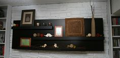 Mantle made from IKEA Lack side tables.