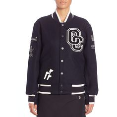 Opening Ceremony Kennel Club Varsity Jacket (700 SGD) ❤ liked on Polyvore featuring outerwear, jackets, apparel & accessories, midnight navy, opening ceremony, embroidered jacket, patchwork jacket, navy blue letterman jacket and long sleeve jacket