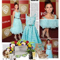 """Nina Dobrev Golden Globes Outfits 3"" by cloduhenois on Polyvore"