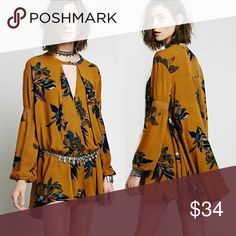 """FLORAL Printed TUNIC DRESS Boho Style Longsleeved BRAND NEW!! Gorgeous printed tunic dress with Flowy hem and vintage-style longsleeves.   This versatile dress can also be worn as a tunic top. Looks great with jeans, leggings, or layered over just about everything!! 🌟🌟This item is Brand New, direct from the Manufacturer, & Sealed in Pkg. 🌟🌟   Available in Sizes: S, M, & L S: Bust: 32""""/ Length: 24"""" M: Bust: 34""""/ Length: 28"""" L: Bust: 35""""/ Length: 30"""" Dresses"""