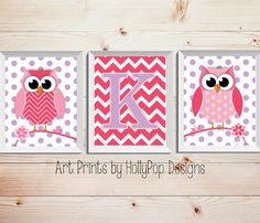 Cute woodland Owls Nursery Decor-Pink Purple Wall Art for Girls-Baby Girl Nursery Decor