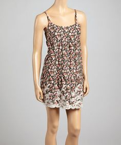 Look what I found on #zulily! Black Floral Sleeveless Dress by Aryeh #zulilyfinds