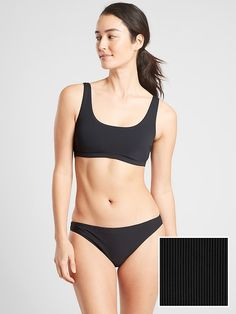 Athleta Women's Cloudbreak Rib Scoop Bikini Top Black Regular Size S Scoop Bikini Top, Strappy Bikini Top, Black Bikini Tops, Racerback Bikini, Swimsuits, Bikinis, Swimwear, Body Photography, Bikini Babes