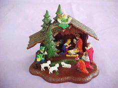 Vintage Shiny Brite Christmas Nativity Scene