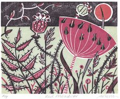 Red meadow, wood ehgraving & linocut by Angie Lewin
