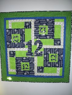 Seahawk quilt 12th Man by QuiltingMyWay on Etsy, $50.00