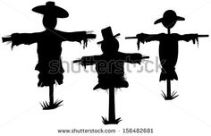 set of scarecrows isolated on white - stock vector