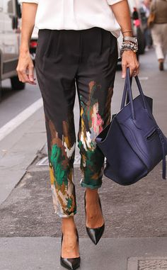 Splatter paint on trousers, could be a fun DIY // I smell a splattered paint trousers party, @Alison Hobbs Gary