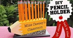 DIY pencil shaped pencil holder teacher gift         Make this super simple giant wood pencil shaped pencil holder for all those teachers t...