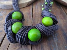 Tagua Nut Statement Necklace Linen Necklace Light Green