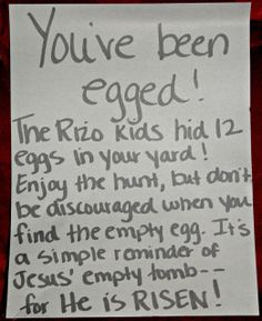 """living a redeemed life: Rizo Sneak Attack: Operation """"You've Been Egged!"""""""