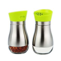 KELLM Salt and Pepper Shakers set  sugarspice ShakerSeasoning Cansjar with Rotating CoverStainless Steel and Glass Dredgeset of 2 green -- You can get additional details at the image link-affiliate link. #KitchenStorage