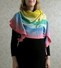 Sateenkaari is a top-down crescent shaped shawl with stripes. It's designed for eight colours, but you can knit it using fewer colours and either stop earlier or knit wider stripes.