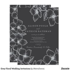 Grey Floral Wedding Invitations