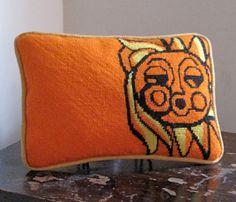 Mid Century Modern Pillow /  Vintage Needlepoint Pillow / Mid Century Sun Design. $18.00, via Etsy.