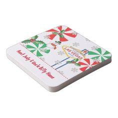 Las Vegas PERSONALIZED Christmas Coasters | Zazzle