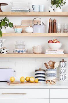 Pastel Kitchen Decor, Kitchen Shelf Decor, Ikea Kitchen, Kitchen Shelves, Kitchen Layout, Kitchen Design, Apartment Kitchen, Kitchen Styling, Updated Kitchen
