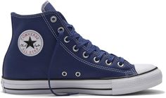b07e4aa258b52 Converse Chuck Taylor All Star Leather High Top Shoes in Blue 153813C  Weißes Oberteil Converse