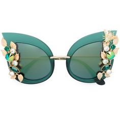Dolce & Gabbana embellished sunglasses ($1,725) ❤ liked on Polyvore featuring accessories, eyewear, sunglasses, green, green sunglasses, dolce gabbana glasses, embellished cat eye sunglasses, cateye sunglasses and logo sunglasses