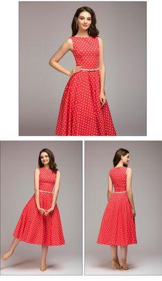 1fa340c0b4 FLAVOR Vintage dress 2018 Summer New sleeveless O-neck vestidos Women  elegant thin dot printing Mid-Calf casual dress Female